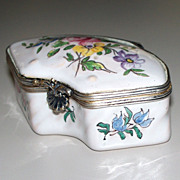 Antique French Faience Veuve Perrin Rococo Box  Exotic Bird