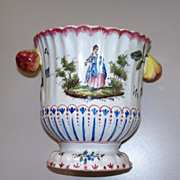 "Antique French Faience ""Claude Reverend"" Jardiniere 18th Century Boy & Girl"