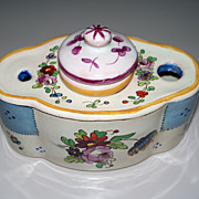 Antique French Faience 'Marseilles' Inkwell  Pretty! Roses ca.1910