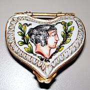 Antique Capo di  Monte Heart-Shaped Box Putti Bronze-Mounts 18th century