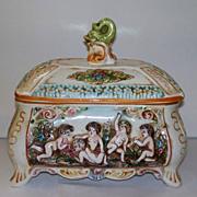Vintage Capodimonte Huge Box Putti Dolphin & Hearts