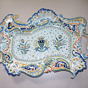 antique French Faience Georges Martel Rouen Armorial  'Mont St. Michel'Large Tray circa 1900