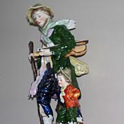 "Antique Capodimonte Man &  Child   with Violin 19th century  7.6"""