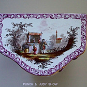 Delightful Antique French Faience Rococo 'Veuve Perrin' Punch  & Judy' Dresser Commode Box