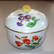 Large Meissen Covered Bowl Basket-Weave Designed borders..  Nice!