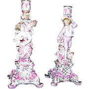 Beautiful Antique Pair Meissen Dresden Porcelain Candlesticks  circa 1890