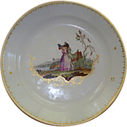 Rare Antique Hague Ansbach Den Haag Porcelain Serving Bowl.  ca 1776  Blue Stork Mark