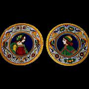 Pair of Deruta Renaissance Design Faience Plates...  Perfect..