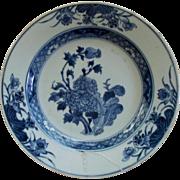 "Antique Chinese Kangxi  "" Peonies "" Blue & White Plate  18th century restored"