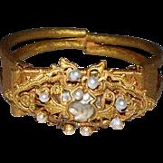 "Miriam Haskel Cuff Bracelet with  ""Baroque Pearl"""