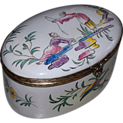 """Lovely Antique Large French Faience Veuve Perrin 'Chinoiserie' Box """"Fishing""""  perfect."""