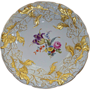 """Antique Meissen Charger Tulip & Rose & Leaves  12"""" X 2"""""""