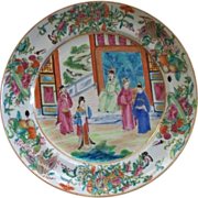 """Spectacular Chinese Famille Rose """"Mandarin"""" Large Plate with Butterflies, Insects, Berries, Corn and The Mandarin.. circa 1820's"""
