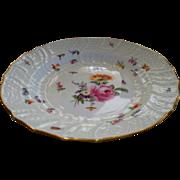Two Antique Meissen Floral Basket Weave Deep Plates    7 Butterflies each