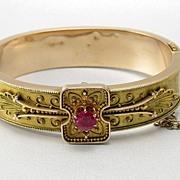 SALE Victorian  Bracelet 14 karat with Round Ruby