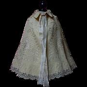Antique Victorian Woolen Cape exquisite pure silk details for bisque or wax doll