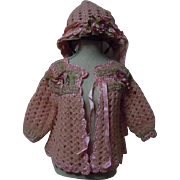 Beautiful Old Rose wool silk Sweater Bonnet for baby compo german french bisque doll