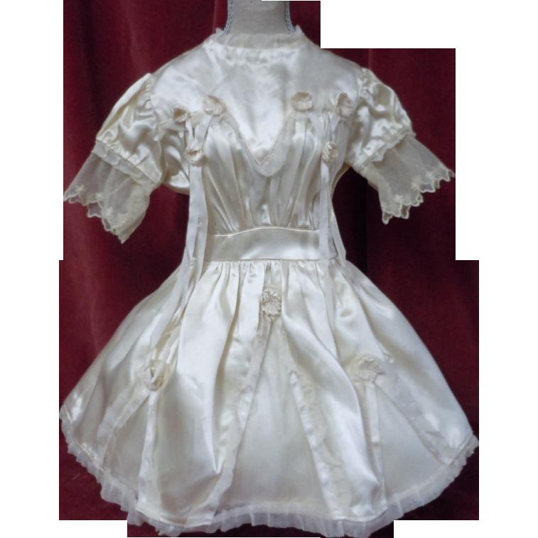 Exquisite Antique sateen Net lace Dress Bonnet for french Bebe Jumeau Steiner doll