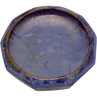 Vintage Art Pottery Fulper Flambe Blue Glaze Large Low Bowl