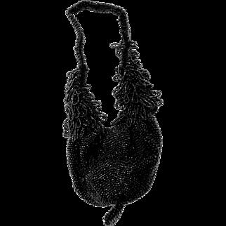 Vintage Victorian Edwardian Jet Black Bead Beaded Bag Purse
