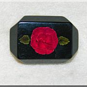 Gorgeous CARVED LUCITE Unusual Red & Black Rose Vintage Estate Brooch