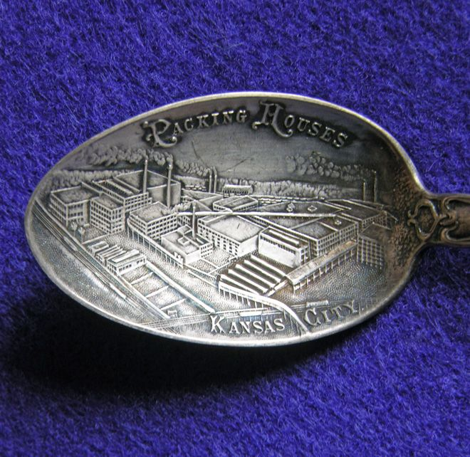 Gorgeous KANSAS CITY Packing Houses Antique Sterling Silver Souvenir Spoon