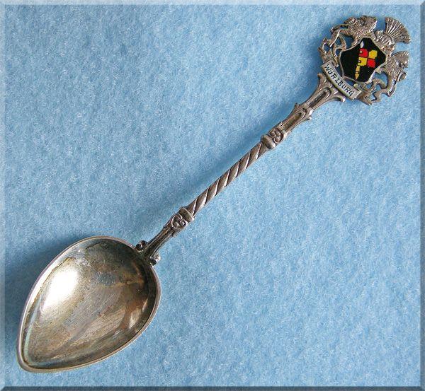Gorgeous 835 SILVER & ENAMEL Germany Souvenir Vintage Estate Spoon