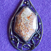 Fabulous LACE AGATE & Modernist Sterling Handmade Vintage Necklace