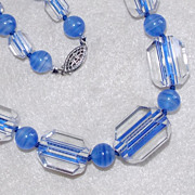 Fabulous PERIWINKLE BLUE GLASS Unusual Beads Vintage Estate Necklace