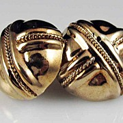 Vintage Sophisticated Vermeil Button Post Earrings