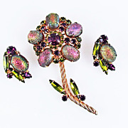 Vintage Iridescent  Flower Brooch and Earring Set - Fantastic