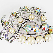 Vintage Aurora Borealis and Faux Pearl Brooch