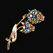 Vintage  Double Bud Pendant/Brooch with Swarovski Rhinestones in  Brilliant Blues and Greens