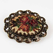 Vintage Unusual Austria Hand-Stitched Needlepoint Tapestry Brooch