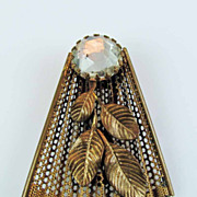 Vintage 1930's Brass and Rhinestone Fan Fur Clip