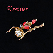Vintage Kramer Figural - Bird and Her Nest Brooch - BOOK PIECE