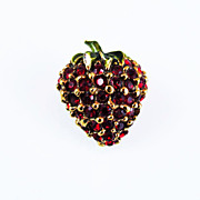 Vintage Whimsical Strawberry Brooch Rhinestone and Enamel, Circa 1950s