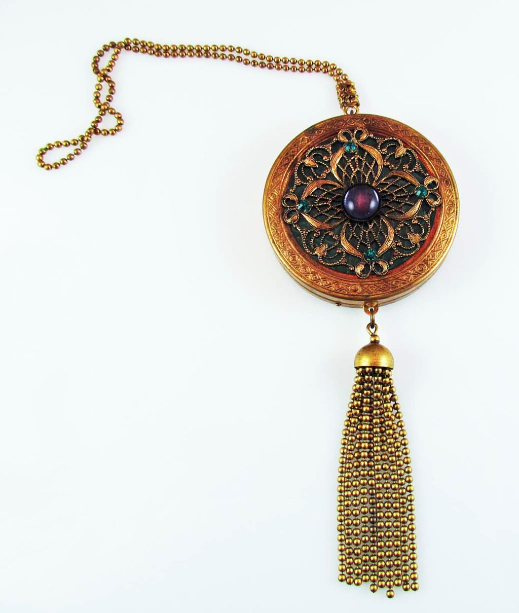 Vintage Brass Filigree Wrist Compact  With Ball Chain Fringe