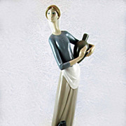 Vintage Lladro Retired 'Girl with Jugs' Figurine - Rare Double Stamp