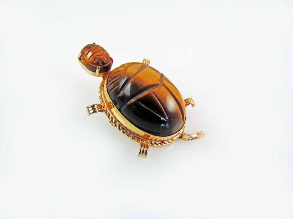 Vintage Burt Cassell 12K Gold Filled Tigers Eye Scarab Turtle Figural