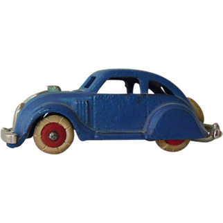"""Cast Iron Hubley Chrysler Airflow Toy, Ca. 1936, 97% paint, 4 1/2"""" long"""