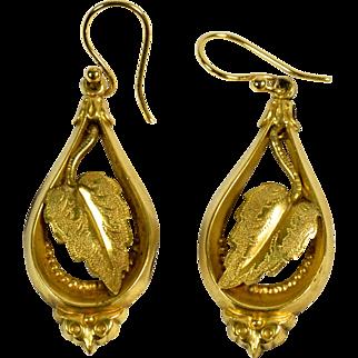 Victorian 9kt Gold Earrings Pendant Leaves, Ca. 1880