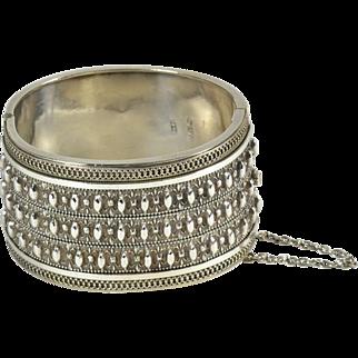 Wide English Silver Victorian Bracelet, Ca. 1880