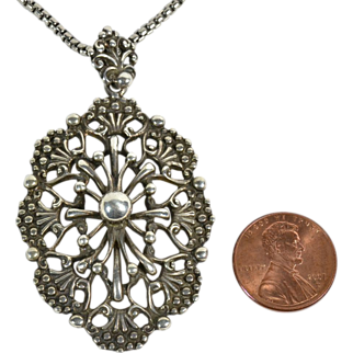 Dutch Victorian Large Silver Pendant on Silver Necklace