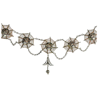 """1920's Sterling Silver Spider Necklace, 18"""" Long"""