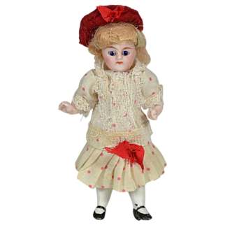 """SALE Antique German All Bisque Doll, 4"""" Tall, Factory Original, 1890"""