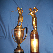 2 Vintage 50's Golf Trophies Galion ohio Country Club Free P&I US Buyers
