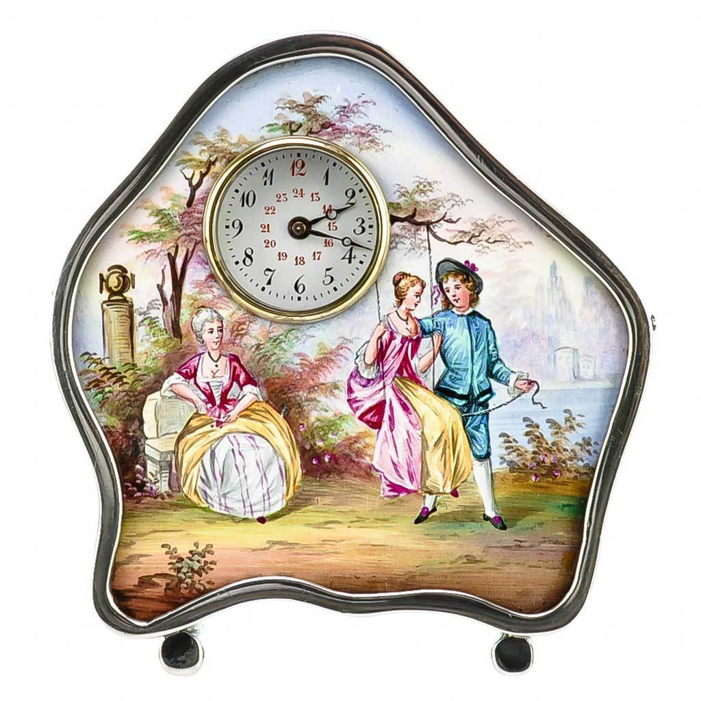 Antique Viennese Austrian Enamel &  Silver Miniature Clock