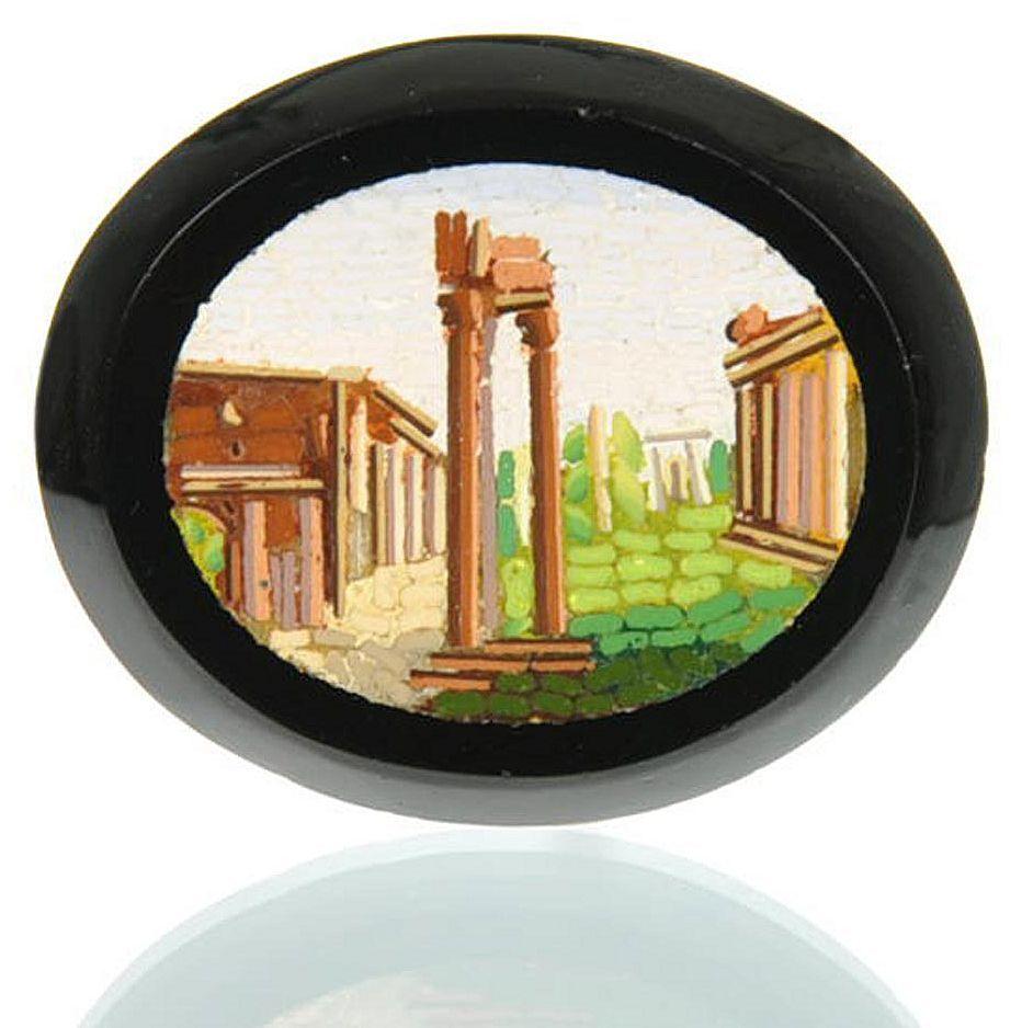 Antique Grand Tour Micro Mosaic Plaque Roman Forum - Micromosaic