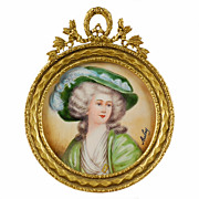 Antique French Hand Painted Portrait Miniature Dore Bronze Frame - Artist Signed Aubry